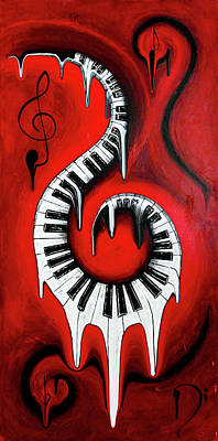 Red Hot - Swirling Piano Keys - Music In Motion Art Print by Wayne Cantrell