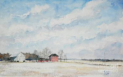 Red House Gray Barn Art Print by Mike Yazel