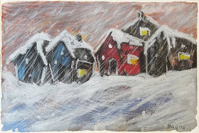 Red House In The Snow Art Print