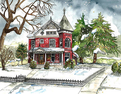 Verandah Painting - Red House In The Snow by Shelley Wallace Ylst
