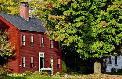 Photograph - Red House On New England Fall Day by Chris Alberding