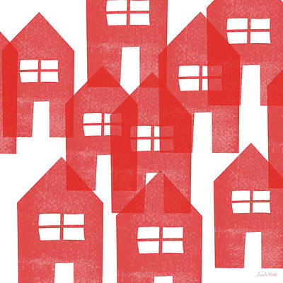 Mixed Media - Red Houses- Art By Linda Woods by Linda Woods