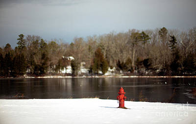 Photograph - Red Hydrant Along The Lake by John Rizzuto