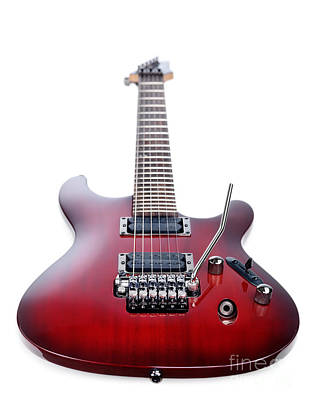 Red Ibanez Electric Guitar Isolated On White Art Print