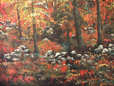 Art Print featuring the painting Red In The Woods by Dan Whittemore
