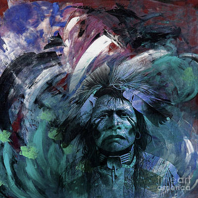 First Tribes Painting - Red Indians 87u by Gull G