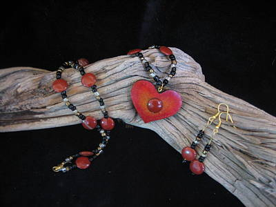 Jewelry - Red Jasper Gourd Wood  Heart  by Barbara Prestridge