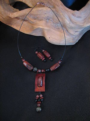 Jewelry - Red Jasper In Gourd Wood by Barbara Prestridge
