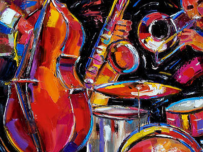 Abstract Drum Painting - Red Jazz by Debra Hurd