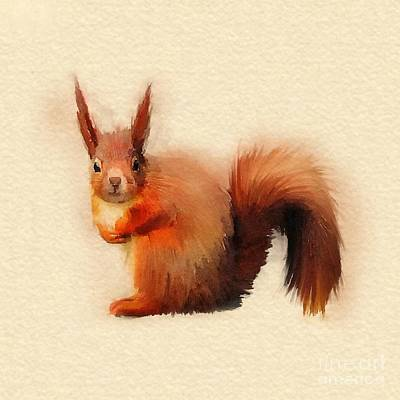 Squirrel Digital Art - Red by John Edwards