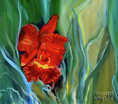 Red Jungle Orchid Art Print