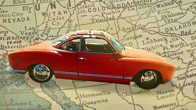 Digital Art - Red Karmann Ghia by Shelli Fitzpatrick