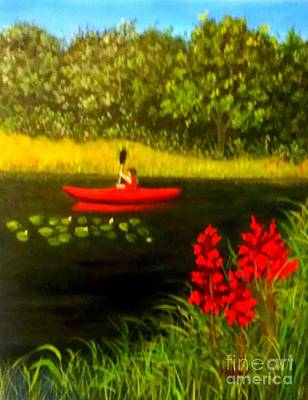 Painting - Red Kayak by Peggy Miller