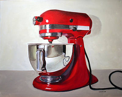 Painting - Red Kitchen Mixer by Gail Chandler