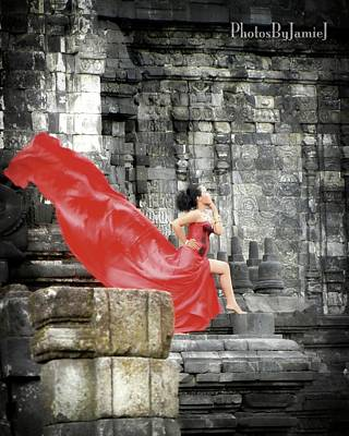 Photograph - Red Lady At Candi Sewu by Jamie Johnson