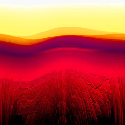 Red Landscape Art Print by Ramon Labusch