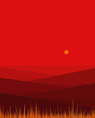 Mountain Sunset Digital Art - Red Landscape - Vertical by Val Arie
