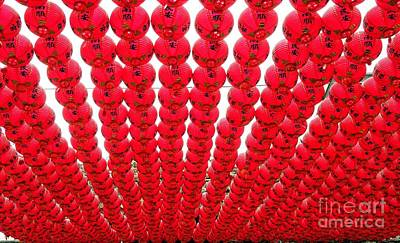 Photograph - Red Lanterns At A Buddhist Temple by Yali Shi