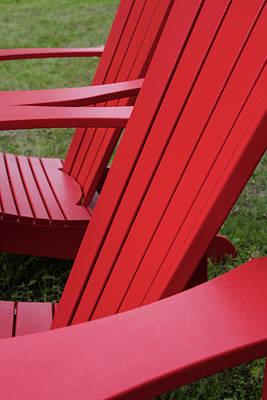 Lawn Chair Photograph - Red Lawn Chair by Steve Gadomski