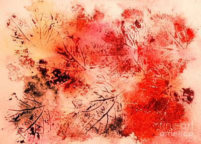 Painting - Red Leaf Impressions by Hazel Holland