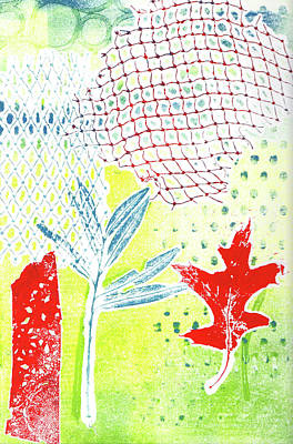 Printmaking Mixed Media - Red Leaf Two by Catherine Alfidi