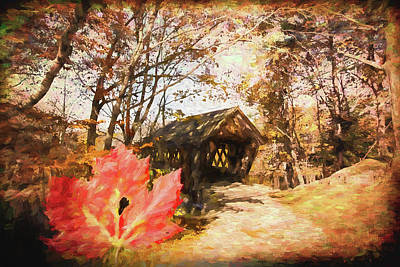 Photograph - Red Leaves A Covered Bridge by Jeff Folger