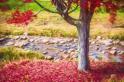 Autumn Leaf On Water Digital Art - Red Leaves Falling Painted by Black Brook Photography