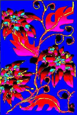 Digital Art - Red Leaves Pink Flowers by Rae Chichilnitsky