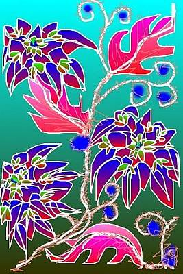 Digital Art - Red Leaves Purple Flowers On Aqua by Rae Chichilnitsky