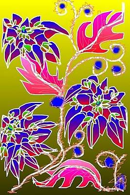 Digital Art - Red Leaves Purple Flowers by Rae Chichilnitsky