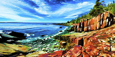 Digitally Manipulated Photograph - Red Ledge At Quoddy Head by ABeautifulSky Photography by Bill Caldwell