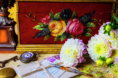 Photograph - Red Letter Box And Dahlias by Garry Gay