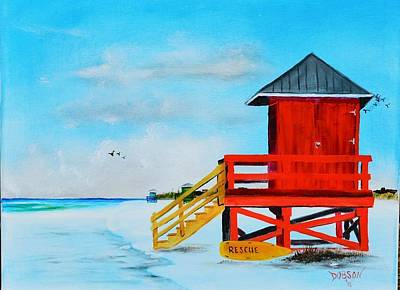Red Life Guard Shack On The Key Art Print by Lloyd Dobson