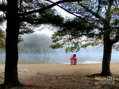 Photograph - Red Lifeguard Chair  by Janice Drew