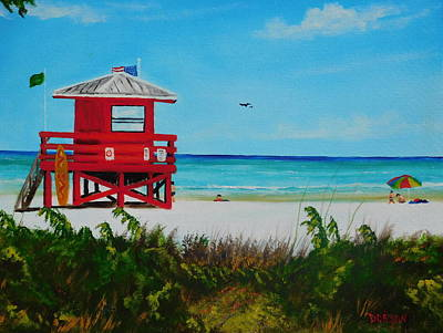 Painting - Siesta Key Red Lifeguard Stand by Lloyd Dobson