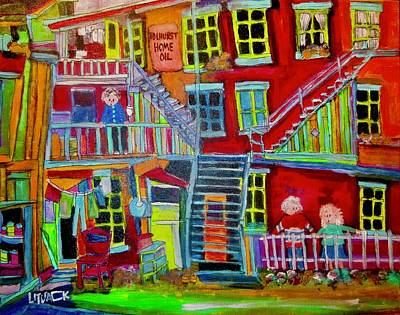 Montreal Back Lanes Painting - Red Light District Montreal Memories by Michael Litvack