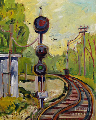 Train Crossing Painting - Red Light Green Light by Charlie Spear