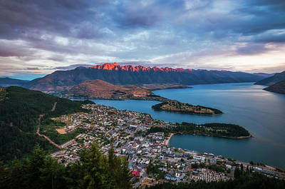 Photograph - Red Light On The Mountain In Queenstown At Sunset by Daniela Constantinescu