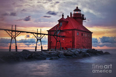 Photograph - Red Light Sunrise In Door County by Mark David Zahn Photography