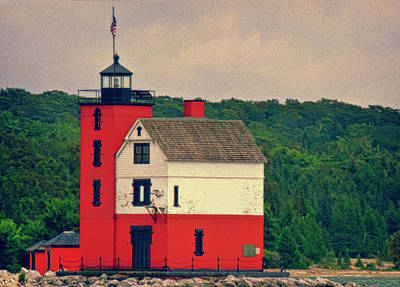 Photograph - Red Lighthouse Hdr by Tony Grider