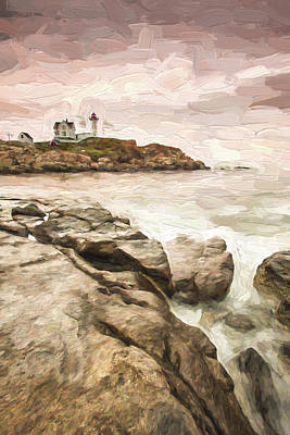 Maine Landscapes Digital Art - Red Lighthouse II by Jon Glaser
