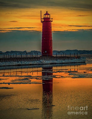 Muskegon Lighthouse Wall Art - Photograph - Red Lighthouse Sunset by Nick Zelinsky