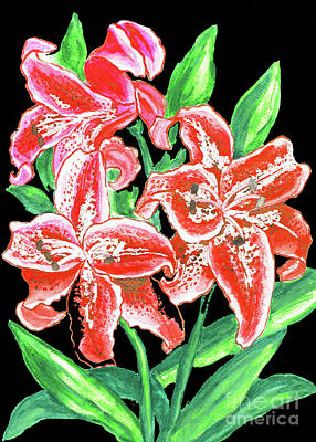 Painting - Red Lilies, Painting by Irina Afonskaya