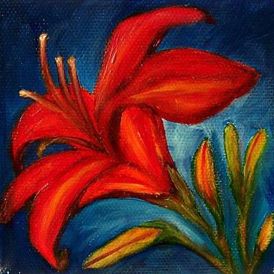 Painting - Red Lily On Blue by Susan Dehlinger