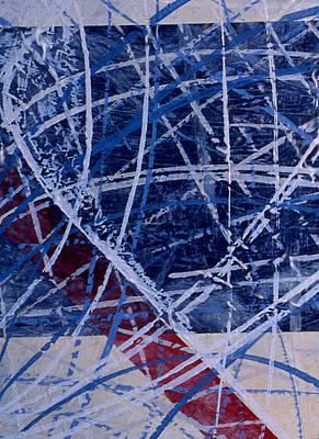 Red Line Blue Line Art Print by Ken Yackel