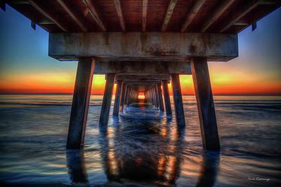 Photograph - Red Line Sunrise Tybee Island Pier Art by Reid Callaway