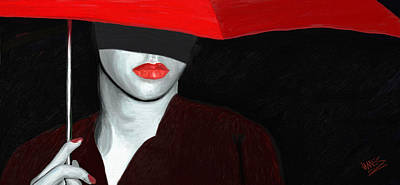 Red Lips And Umbrella Art Print by James Shepherd