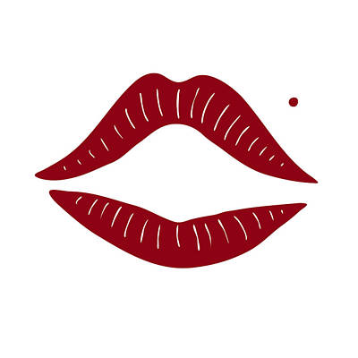 Red Lips Print by Frank Tschakert