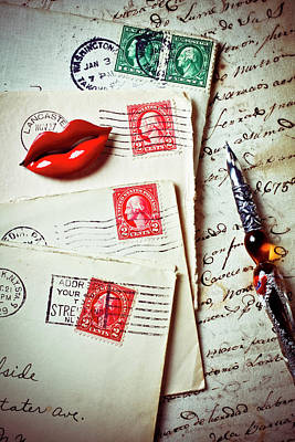 Red Lips Pin And Old Letters Art Print by Garry Gay