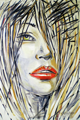 Painting - Red Lipstick 081208 by Selena Boron
